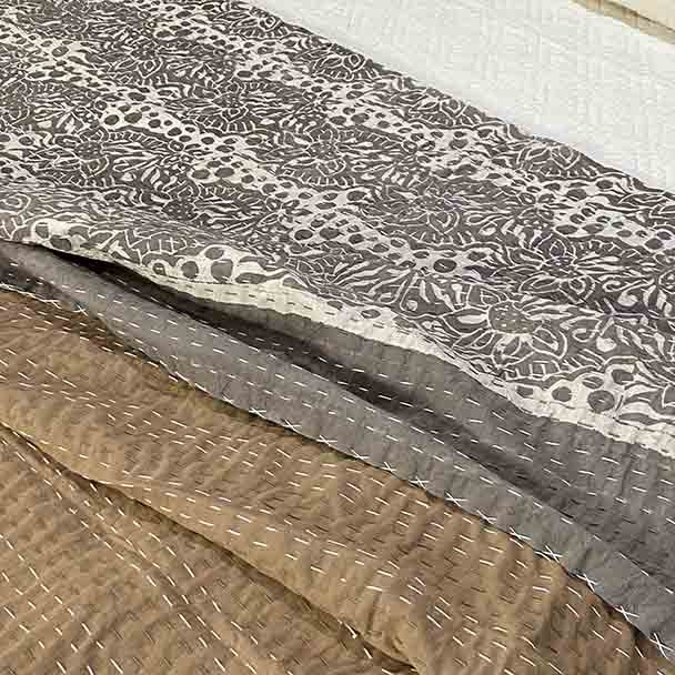 Kantha Quilt -Mud Cloth Floral Tones - King / Queen
