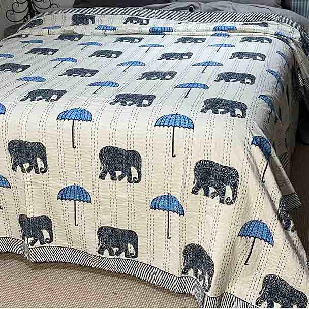Kantha Quilt - Elephants and Umbrella's - Yummy Linen