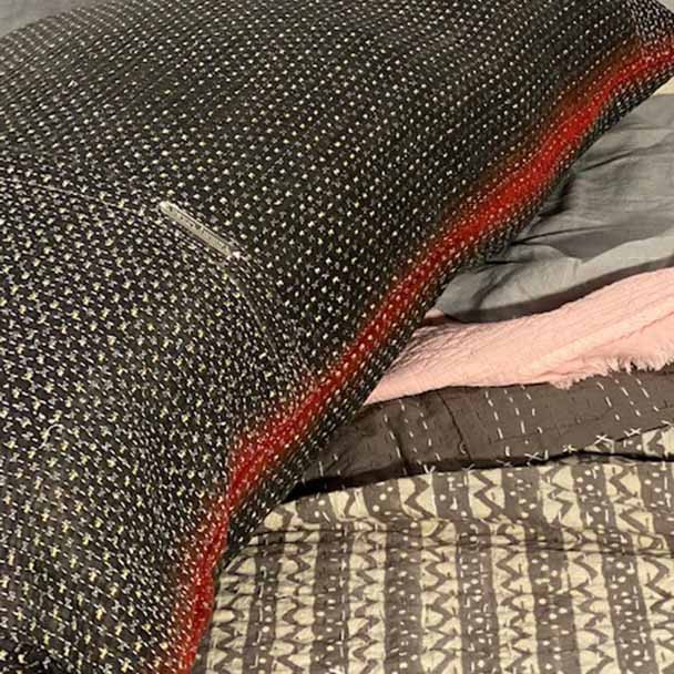 Red and Black vintage kantha stitched body pillow.
