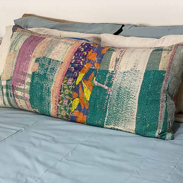 Vintage kantha stitched body pillow.