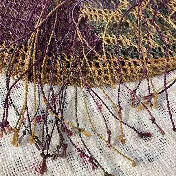 Tribal Telefomin Bilum - Purple - Natural- Hand Woven