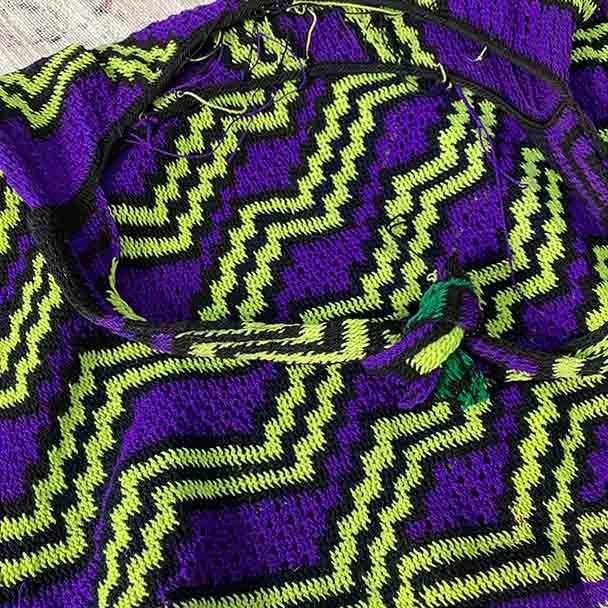 Telefomin Bilum - Purple Hand Woven
