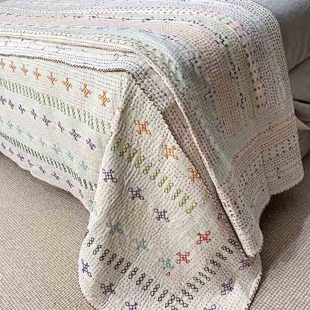 Kantha Quilt - White Hand Stitched - Sheet Bedspread Queen, King