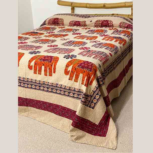 Elephant Applique Bedspread - Hand Stitched - Queen King