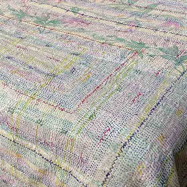 Cotton Bohemian Vintage Kantha Embroidered Throw -2