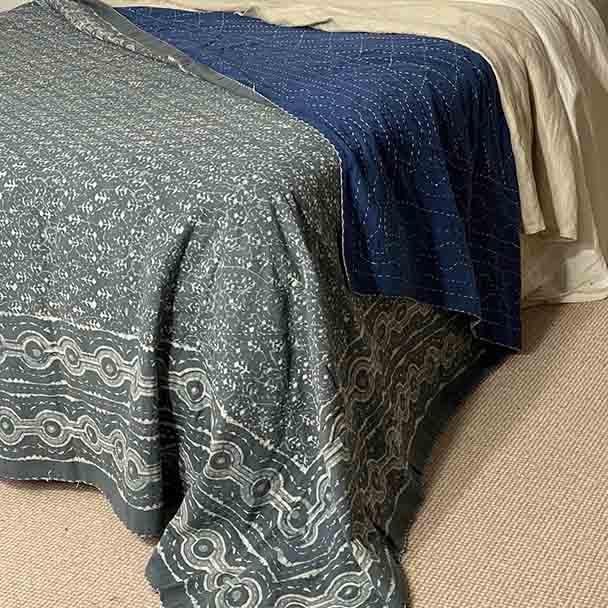 Cotton Bedspread Quilt Kantha - Mist 2 Queen Size