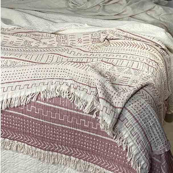Cotton Throw Blanket Coastal Beauty - Dusty Rose  - Yummy Linen