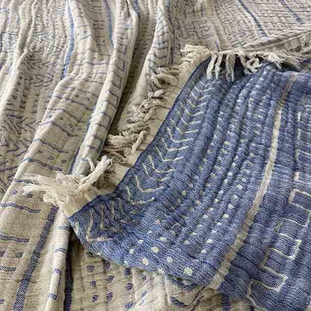 Cotton Throw Blanket Coastal Beauty - Sky Blue - Yummy Linen