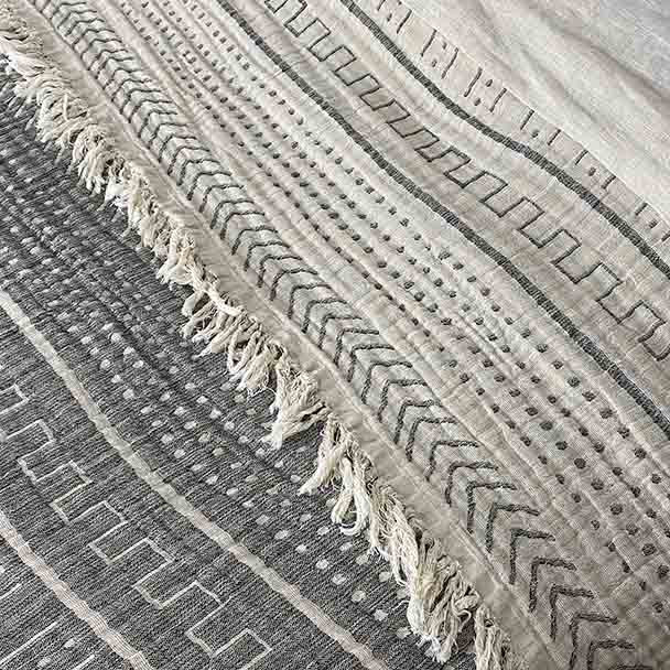 Cotton Throw Blanket Coastal Beauty - Charcoal - Yummy Linen