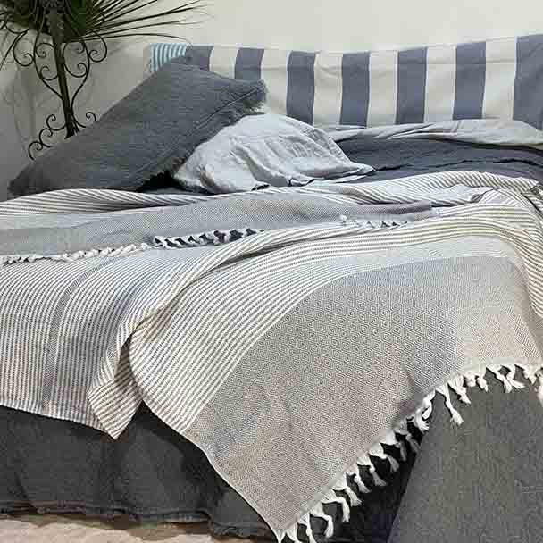 Turkish Cotton Throw Blanket Charcoal - Yummy Linen