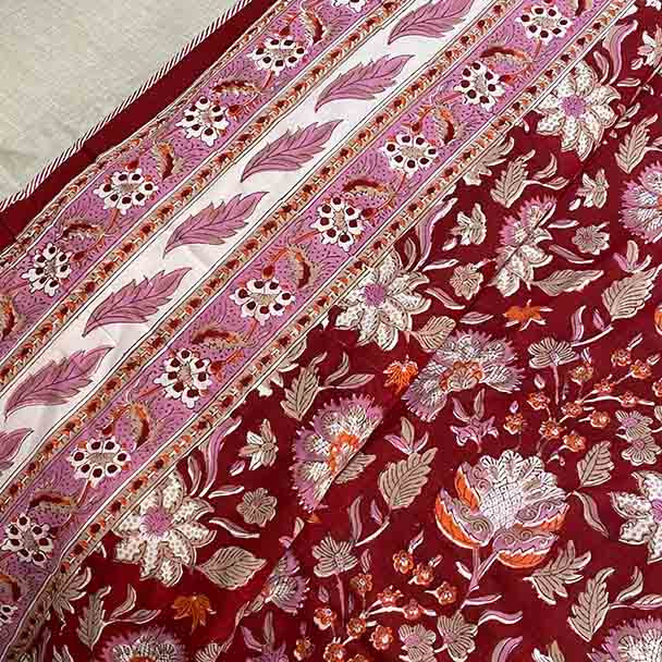 Floral Quilted Bed Sheet - Red - Yummy Linen