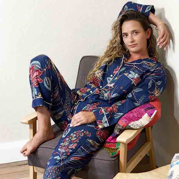 Cotton Women's Designer Sleepwear - Cotton Pyjamas Lapis