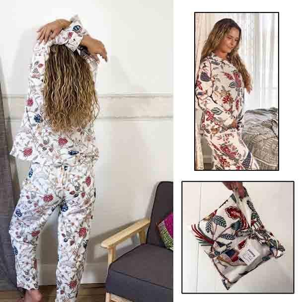 Cotton Ladie's Designer Sleepwear - Cotton Pyjamas - White