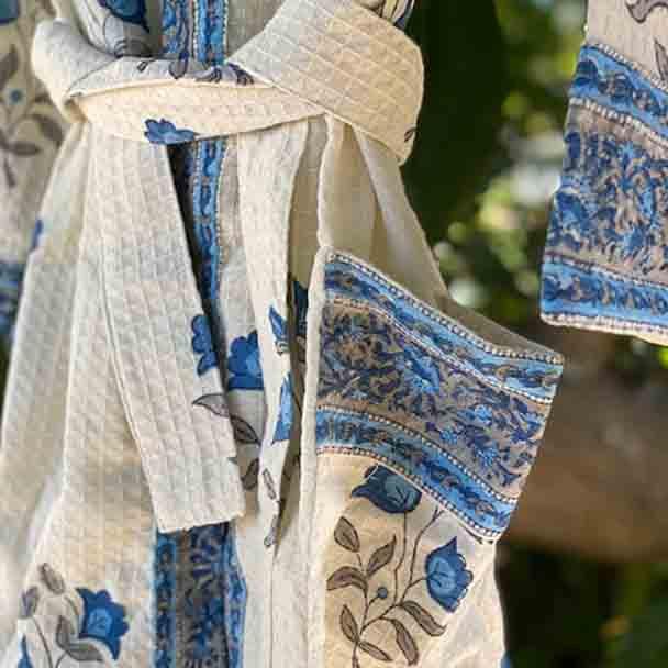 Waffle Cotton Robes - free size - Bath Robe - Blue Flowers