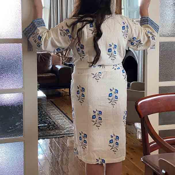Back view of the kimono with waiste strap.