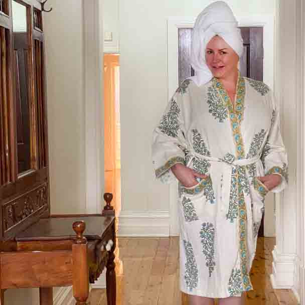 Waffle Cotton Robes - free size - Bath Robe - Tree Of Flowers