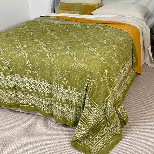 Willow - Cotton Quilt - Kantha Stitch - Double / Queen