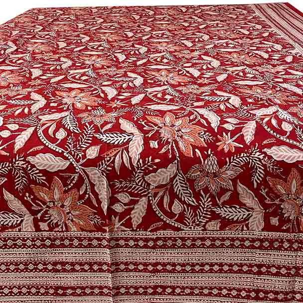 Red Floral designed block printed cotton tablecloth.