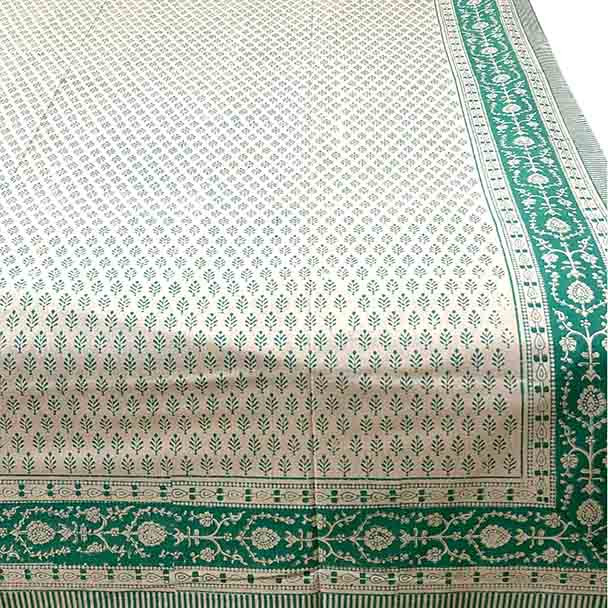 Delicate green stylised leaves design with detailed border. White background and only one colour of green.