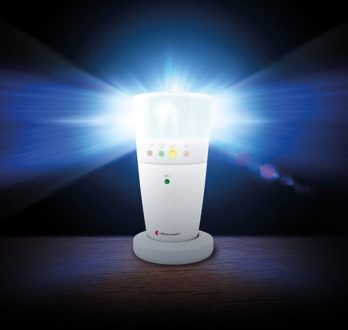 he Visit Flash is placed beside the bed and connected to the Visit Bed Shaker when the Visit Smoke alarm is activated it sends a radio signal to the Visit Flash. The Visit Flash is connected to power via a mains adaptor and has a built in rechargeable battery backup.