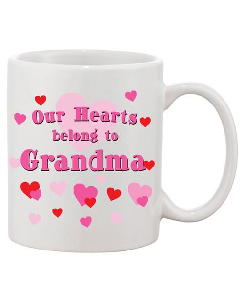 Our Hearts Belong To Grandma Ceramic Coffee Mug - We Love You Grammy!