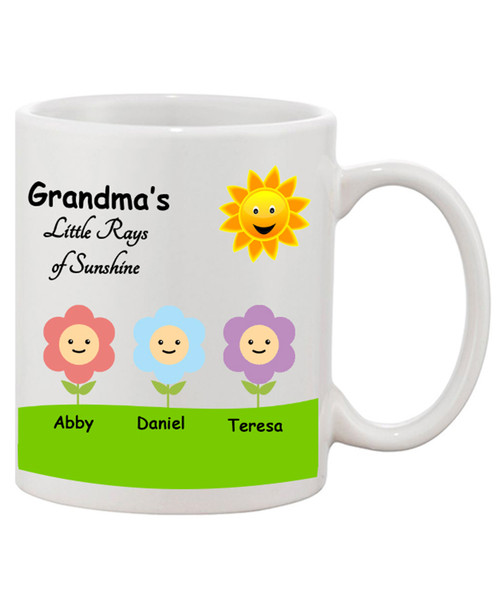 Custom Personalized Grandma's Little Rays of Sunshine Ceramic Coffee Mug