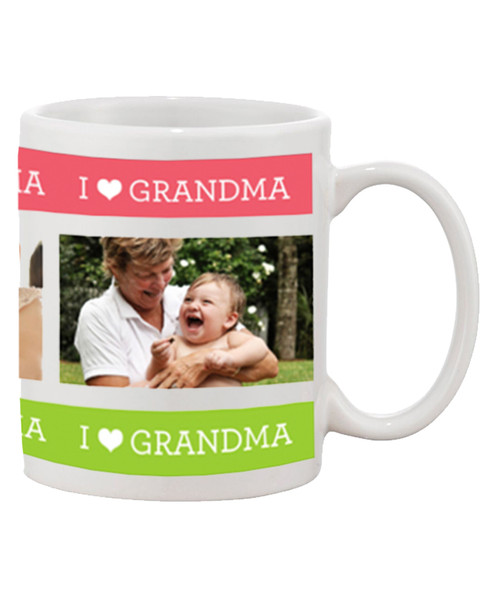 Custom Personalized I Love Grandma / with 3 of your Pictures Ceramic Coffee Mug