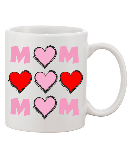 Mom Surrounded by Hearts in Pink / Red Classic Ceramic Coffee Mug