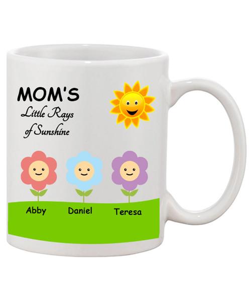 Custom Personalized Mom's Little Rays of Sunshine Mother's Day Ceramic Coffee Mug