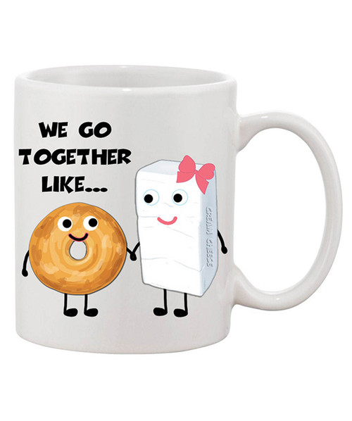 We Go Together Like Bagels and Cream Cheese Graphic Funny Loving Ceramic Coffee Mug