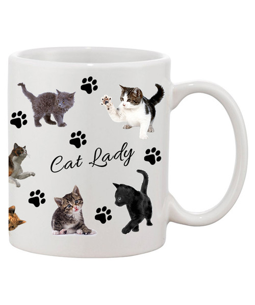 Cat Lady Ceramic Coffee Mug / For the Cat Lover in All of Us