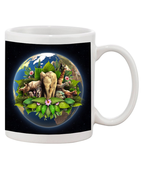 Earth Day Ceramic Coffee Mug  with Some the Animals that make out Planet a Beautiful One