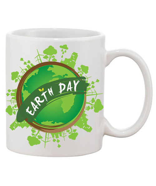 Earth Day Mug / Pretty Green Earth w/  Banner