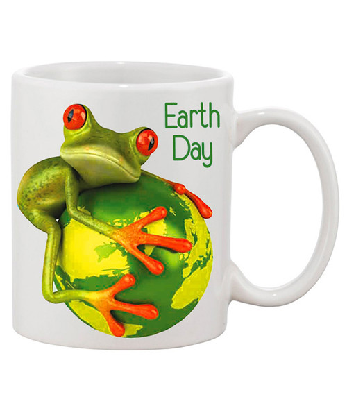 Earth Day Mug w/  Tree Frog Hugging Our Planet Beautiful