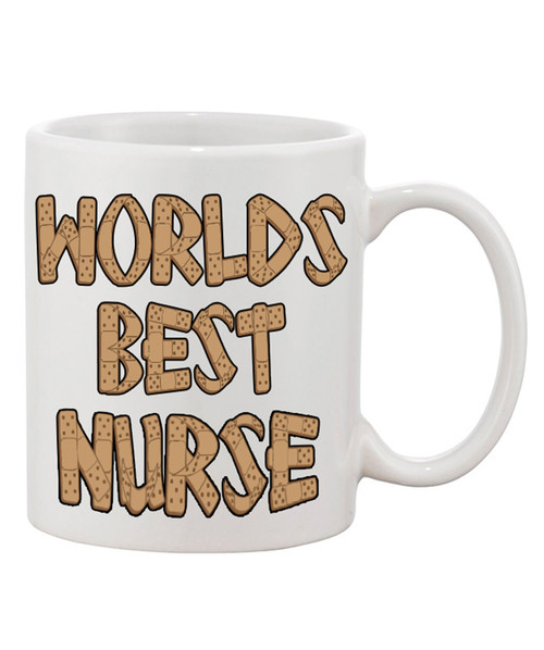 Worlds Best Nurse Ceramic Mug Bandaid Lettering