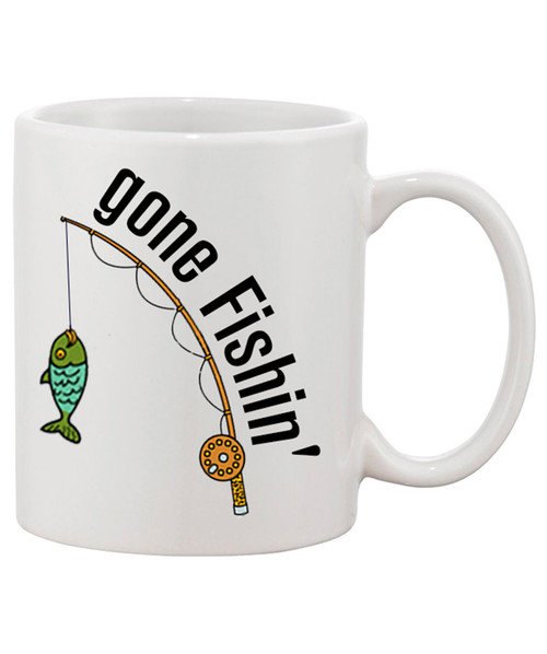 Gone Fishin' Ceramic Coffee Mug/ A Bad Day Fishing is Better than a Good Day of Work!