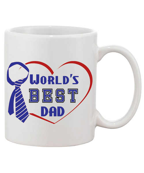 World's Best DAD Ceramic Coffee Mug / in an open Heart with Neck Tie Accent