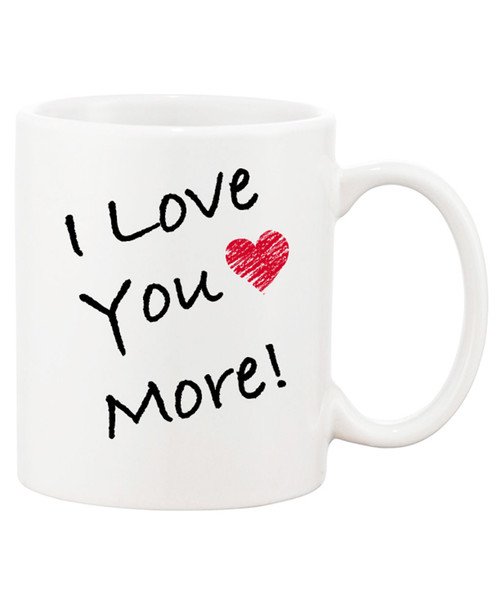 Love You More Ceramic Coffee Mug / Simple RED Heart - Love is That Simple