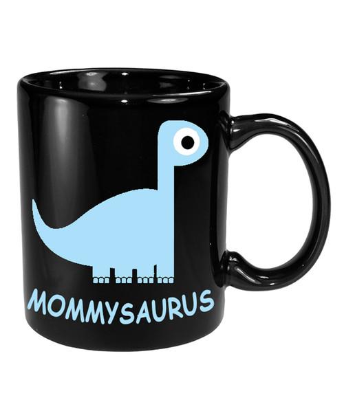 Mothers Day Cute Ceramic CoffeeMug w/Mommysaurus in Pink/Blue
