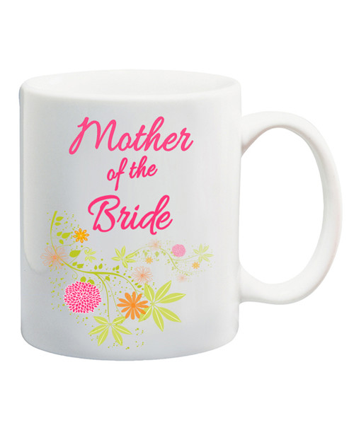 Mother of the Bride Ceramic Coffee Mug /Pastel Flowing Flowers/Great Wedding Gift