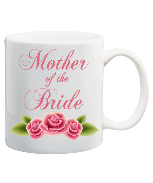 Personalized Mother of the Bride Ceramic Coffee Mug w/Elegant Pink Lettering & Pink Roses/ Great Wedding Gift