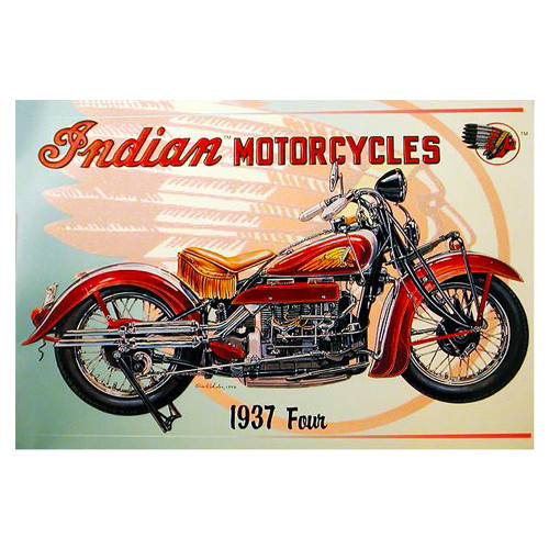 Vintage Indian Motorcycles 1937 Replica Aluminum Sign Wall Decor