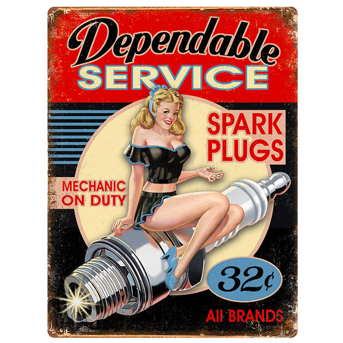 Vintage Dependable Service Spark Plugs  - Replica Aluminum Sign Wall Decor