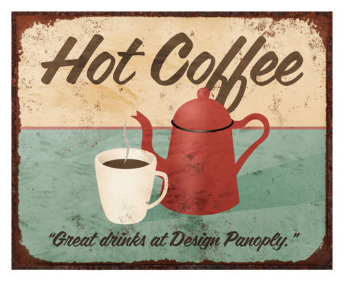 Old Vintage Hot Coffee Sign (Replica)/Aluminum Panel Coffee Sign Wall Decor