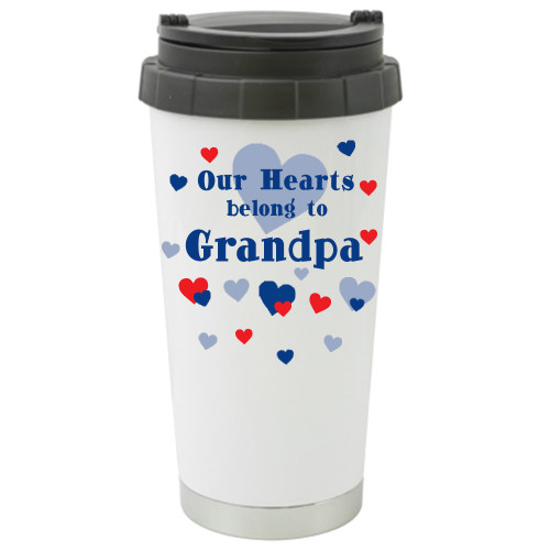 Our Hearts Belong to Grandpa Travel Mug /Father's Day Gift/ Add a Name to the other Side/