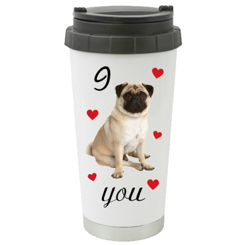 Travel Mug / Cute Pug Love/ Surrounded by Hearts