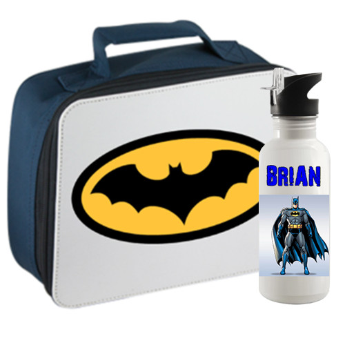 School Lunch Box and Water Bottle Set - Custom / Personalized w Your Picture, Name