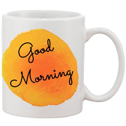 Good Morning with a Splash of Bight Orange Color Coffee Mug