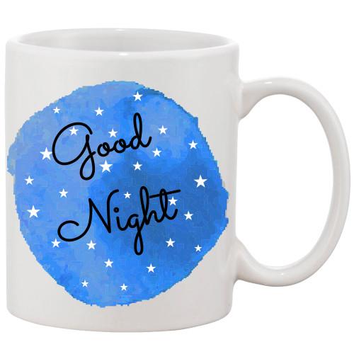Good Night on Blue Water Color Background Mug