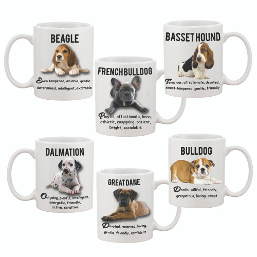 Dog Mug with Picture of Dog & Breed Temperament /Customize with your dog picture